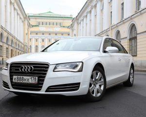 Аренда Audi A8 белая на свадьбу в Санкт-Петербурге